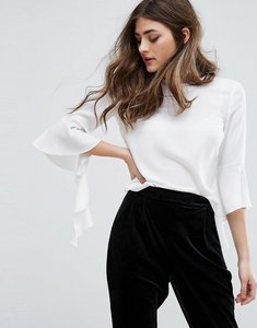Read more about Miss selfridge frill sleeve top - cream