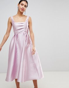 Read more about Asos design structured prom midi dress with square neck - soft pink