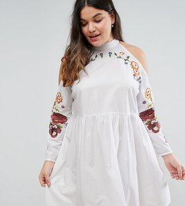 Read more about Asos curve embroidered cold shoulder dress - white