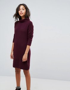 Read more about Esprit roll neck knitted midi dress - dark red