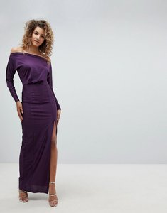 Read more about Ax paris long sleeve maxi dress with side split - plum