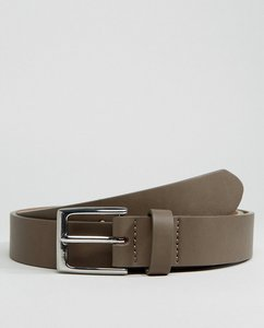 Read more about Asos smart slim belt in mushroom faux leather with silver buckle - grey