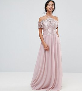 Read more about Chi chi london petite halter maxi with off shoulder lace detail - pink