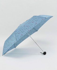 Read more about Lulu guinness superslim 2 lulu letters mist blue umbrella - blue