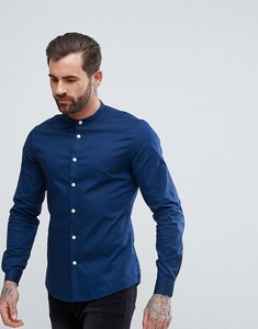 Read more about Asos slim shirt in navy with grandad collar - navy