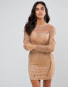 Read more about Forever unique long sleeved embellished bodycon dress - rose gold