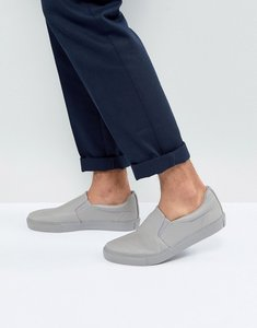 Read more about Asos slip on plimsolls in grey with grey sole - grey