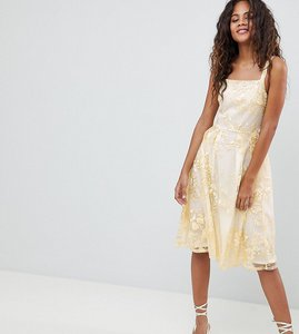 Read more about Dolly delicious tall allover embroidered floral lace midi prom dress - multi