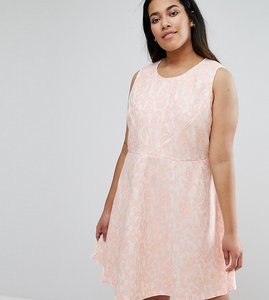 Read more about Ax paris plus skater dress in lace - pink