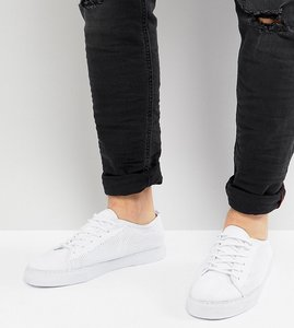 Read more about Asos wide fit lace up plimsolls in white mesh - white