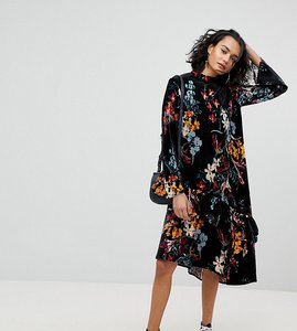 Read more about Reclaimed vintage inspired velvet midi smock dress in floral print - multi