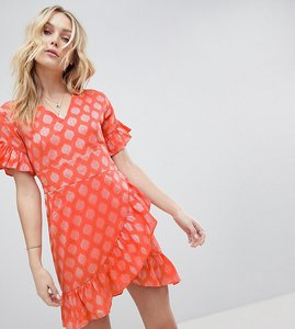 Read more about Glamorous tall mini dress with asymmetrical frill hem and tie waist in jacquard - light coral damask