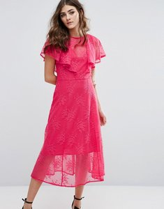 Read more about Miss selfridge ruffle lace overlay midi dress - pink