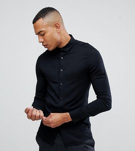 Read more about Asos design tall skinny stretch viscose shirt in black - black