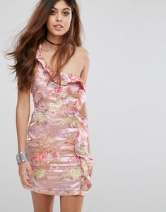 Read more about Glamorous one shoulder dress in floral brocade - pink