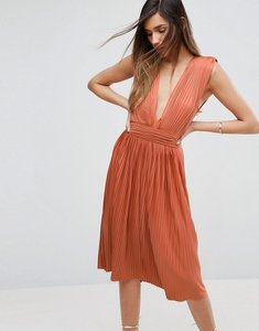 Read more about Asos premium deep plunge pleated midi dress - orange