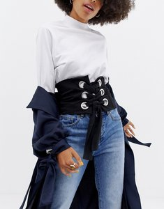 Read more about Asos stretch corset belt with eyelet detail - black
