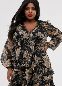 Read more about Asos design curve long sleeve mini dress in floral print with cluster embellishment detail and circl
