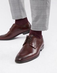 Read more about Asos design lace up shoes in burgundy leather - burgundy
