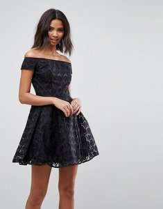 Read more about Hell bunny paris lace off shoulder skater dress - black