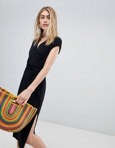 Read more about Bershka plisse wrap dress - black
