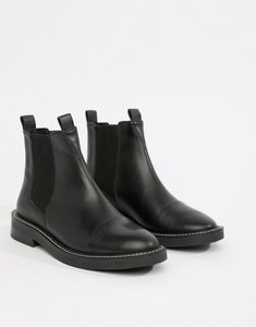 Read more about Asos design ariel leather chelsea boots - black leather