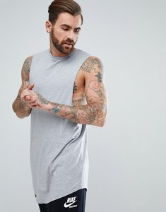 Read more about Asos super longline vest with dropped armhole and curve hem - grey marl