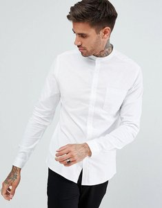 Read more about Asos casual skinny oxford shirt in white with grandad collar - white