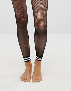 Read more about Asos stripe cuff footless fishnet tights - black