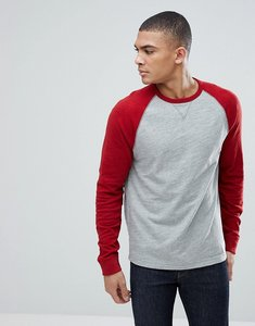 Read more about Abercrombie fitch long sleeve baseball top contrast sleeve in grey red - grey red dahlia