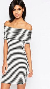 Read more about Asos mini bardot off shoulder dress in stripe with short sleeve - black white