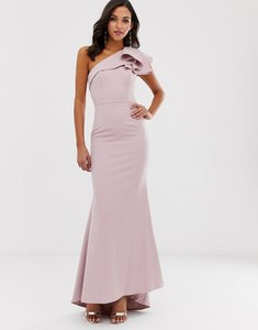 Read more about Jarlo one shoulder maxi dress with ruffle sleeve in pink