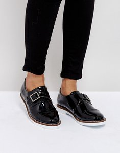 Read more about London rebel buckle monk shoe on white sole - black patent