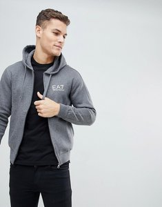Read more about Ea7 fleece chest logo zip through hooded sweat in charcoal - charcoal