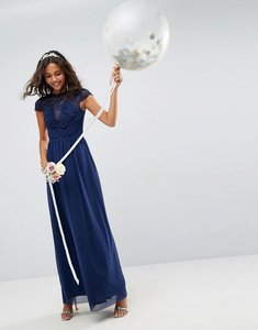 Read more about Asos design bridesmaid lace mesh insert sleeve maxi dress - navy