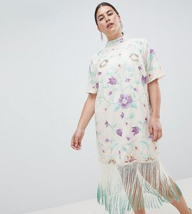 Read more about Asos design curve embroidered midi dress with tie dye fringe - multi