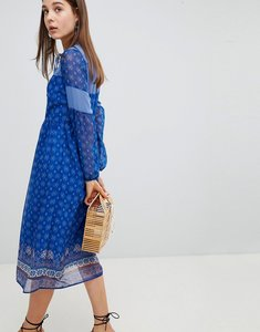 Read more about New look border print midi dress - blue pattern