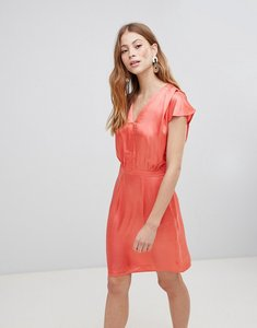 Read more about Vila v neck silky dress - deep sea coral