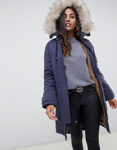 Read more about Asos design luxe parka with faux fur trim - navy