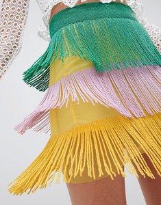 Read more about Asos design tiered mini skirt in multi coloured embellishment - multi