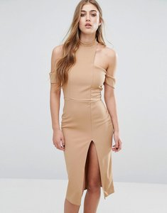 Read more about Missguided cut out choker midi dress - camel