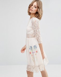 Read more about Asos premium skater dress with lace sleeves and neon embroidery - nude