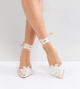 Read more about Asos wonderlust bridal wide fit embellished mid heels - nude
