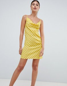 Read more about Missguided polka dot cowl neck cami dress - yellow
