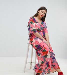 Read more about Lost ink plus maxi kimono sleeve maxi dress in oversized floral print - pink multi