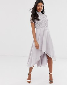 Read more about Asos design midi dress with short sleeve embellished bodice