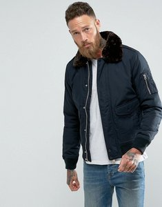 Read more about Schott air bomber jacket detachable faux fur collar slim fit in navy brown - navy brown