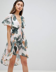 Read more about Influence plunge front dip hem beach dress in summer palm print - palm