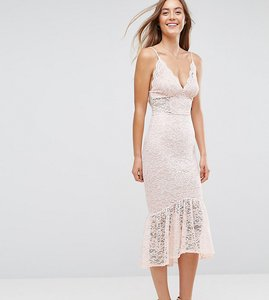 Read more about Asos tall lace plunge pephem midi dress - nude