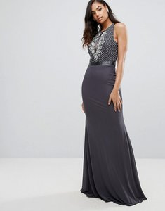 Read more about Jovani maxi dress with embellished upper - black